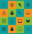 set of 16 web icons includes team computer vector image vector image