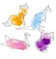 set of polygonal contour animals with watercolor vector image vector image