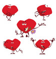 set of valentine hearts with different emotions on vector image