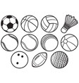 sport balls thin line icons set - beach tennis vector image