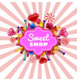 sweet shop candy template set of different colors vector image