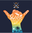 tropical surfing design vector image