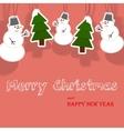 Christmas card with snowman and christmas tree vector image