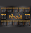 2019 calendar yellow white text number on dark vector image vector image