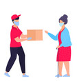 a courier in protective medical mask brought vector image vector image