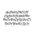Blackletter gothic script hand-drawn font vector image vector image
