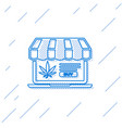 blue line laptop and medical marijuana or cannabis vector image vector image