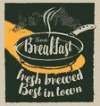 breakfast banner with inscriptions and frying pan vector image vector image