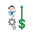 businessman running on gears and dollar with vector image