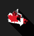Canada flag map flat design vector image vector image