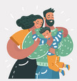 cartoon of a young happy family vector image vector image