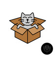 cat from box logo cute cartoon cat come out vector image vector image