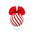 christmas ball in white and red color with vector image vector image