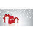 christmas presents with shopping bag vector image vector image