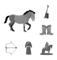 country mongolia monochrome icons in set vector image vector image