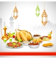 Delicious dishes for Iftar party vector image vector image