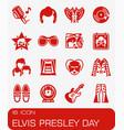 elvis presley day icon set vector image