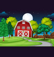 farm scene with barn and long road at night vector image vector image