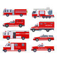 fire engine collection with red emergency vector image vector image