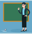 flat design teacher at the blsckboard vector image