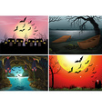 Four scenes with bats at night vector image vector image