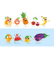 funny fruit characters - set of isolated vector image vector image