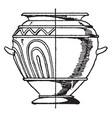 grey clay urn has ornamentation in its relief vector image