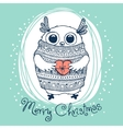 Hand drawn with cute eagle owl Merry Christmas vector image