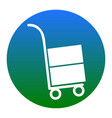 hand truck sign white icon in bluish vector image