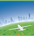 hong kong skyline flight destination vector image vector image