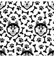 husky head dog seamless pattern vector image vector image