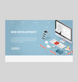 isometric concept main page website development vector image vector image