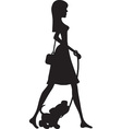 Lady Walking Puppy Silhouette vector image vector image