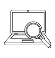 laptop computer with magnifying glass vector image vector image