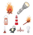 light source set icons in cartoon style big vector image vector image