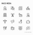 mass media thin line icons set vector image vector image