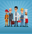 men group differents occupation workers labor day vector image