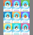 merry christmas happy new year cards set penguins vector image