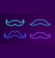 neon bright signboards blue light mustache glow vector image vector image