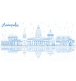 outline annapolis maryland city skyline with blue vector image