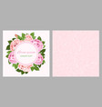 pink and beige roses wreath for greeting card and vector image vector image