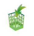 plastic basket green trash bins isolated motley vector image vector image