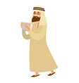 saudi arab man with tab or smartphone vector image vector image