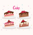 set cake portions icons vector image vector image