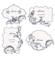 Set floral ornament frame and labels vector image