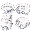 Set floral ornament frame and labels vector image vector image