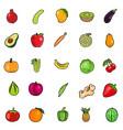 set fresh colorful fruit vegetables vector image vector image