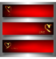 set golden hearts banners valentines day vector image vector image