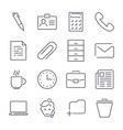 set with business and office iconseditable stroke vector image
