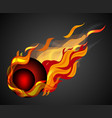 shooting red ball with flame on black background vector image vector image